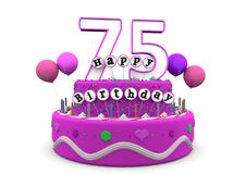 Happy Birthday. Pink cake with Happy Birthday and number on top Royalty Free Stock Photography