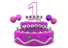 Happy Birthday. Pink cake with Happy Birthday and number on top Royalty Free Stock Photo
