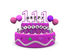 Happy Birthday. Pink cake with Happy Birthday and number on top stock illustration