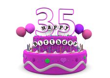 Happy Birthday. Pink cake with Happy Birthday and number on top Stock Photos
