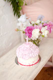 Pink cake with number one Royalty Free Stock Photo