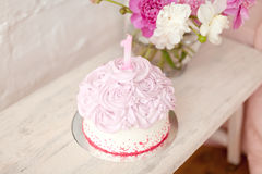 Pink cake with number one Royalty Free Stock Image