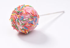 Pink cake-pop. Sweet pink cake-pop, food photography stock images