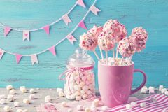 Pink cake pops stock photography