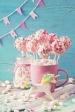 Pink cake pops stock image