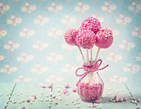 Pink cake pops. In a vase royalty free stock photos