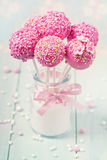 Pink cake pops stock photos