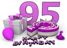 Happy Birthday. Pink cake and present with Happy Birthday and the age stock illustration