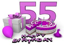 Happy Birthday. Pink cake and present with Happy Birthday and the age Stock Image
