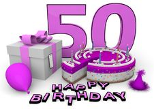 Happy Birthday. Pink cake and present with Happy Birthday and the age Royalty Free Stock Photo