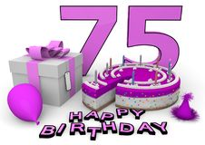 Happy Birthday. Pink cake and present with Happy Birthday and the age Stock Images