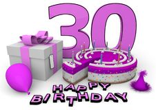Happy Birthday. Pink cake and present with Happy Birthday and the age Stock Photo