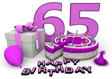 Happy Birthday. Pink cake and present with Happy Birthday and the age Royalty Free Stock Images