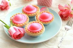 Pink cakes on blue plate Stock Image