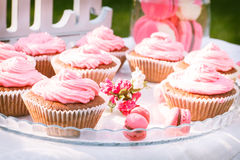 Pink cakes on the table Stock Photography