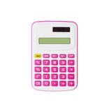 Pink calculator isolated on white background Stock Photo