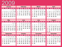 Pink Calendar for 2009 Stock Photography