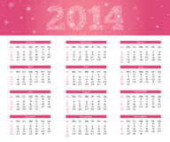2014 pink calendar. 2014 calendar in pink style with snowflakes Royalty Free Stock Photography