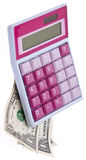 Pink Caluclator with Money Stock Photos