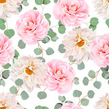 Pink camellia, dahlias and eucalyptus leaves seamless vector pat  Royalty Free Stock Images