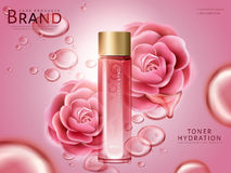 Pink camellia hydrating toner Royalty Free Stock Photos