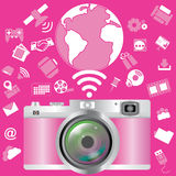 Pink camera Stock Images