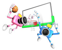 Pink camera and Blue camera basketball playing. Create 3D Camera Stock Photography
