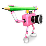 Pink camera with both hands holding a large pencil. Create 3D Ca Royalty Free Stock Photos