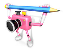 Pink camera with both hands holding a large pencil. Create 3D Ca Stock Photo
