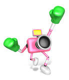 A pink Camera Character and a boxing play. Create 3D Camera Robo Royalty Free Stock Photo