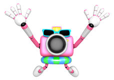 Pink Camera character on dynamic jump. Create 3D Camera Robot Se Royalty Free Stock Photos
