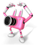 Pink Camera Character gesture of love in To the left toward. Cre Royalty Free Stock Photos
