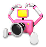 Pink Camera Character gesture of love in To the left toward. Cre Stock Photos