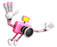 Pink Camera character on powerful jump. Create 3D Camera Robot S Stock Image