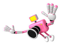 Pink Camera Character in Powerful jumping. Create 3D Camera Robo Royalty Free Stock Photo