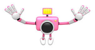 Pink Camera Character in Powerful jumping. Create 3D Camera Robo Royalty Free Stock Image