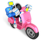 Pink camera character the right motorbike driving. Create 3D Cam Stock Photo