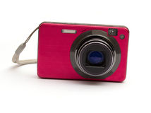 The pink camera isolated. On a white background Royalty Free Stock Photos