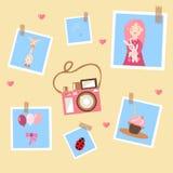 Pink camera and photos vector illustration