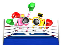Pink camera and Yellow camera Boxing match. Create 3D Camera Rob Stock Photo
