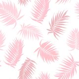Pink camouflage palm tree leaves seamless pattern. Pink camouflage jungle rainforest palm tree leaves isolated on white background. Exotic tropical seamless vector illustration