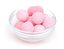 Pink candies in a glass bowl Royalty Free Stock Photography