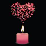 Pink candle. Colorful illustration with pink candle and heart for your design Royalty Free Stock Photography