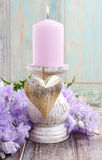 Pink candle stock image