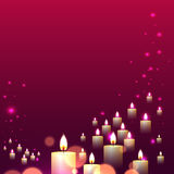 Pink candle light line fall on pink background Royalty Free Stock Images