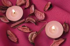 Pink candles Stock Photos