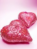 Pink candles set heart shape. Set of heart spa aroma candles as present Stock Photo