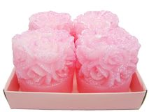 Pink candles set rose flower shape Royalty Free Stock Photo