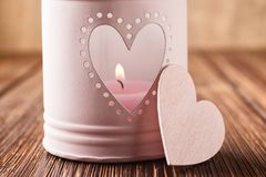 Pink candlestick. With heart shape royalty free stock image