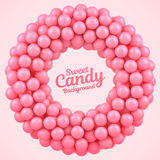 Pink candy balls round frame with place for your content Stock Images